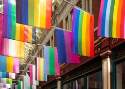 30 different pride flags hang together in a stunning celebration of joy and freedom
